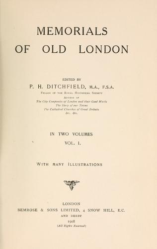 Download Memorials of old London