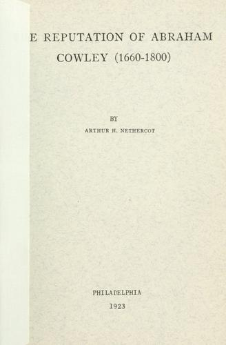 Download The reputation of Abraham Cowley, 1660-1800.