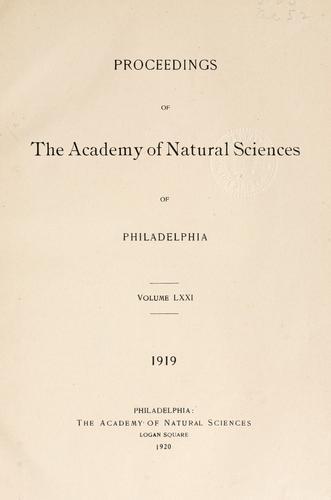 Proceedings of the Academy of Natural Sciences of Philadelphia, Volume 71