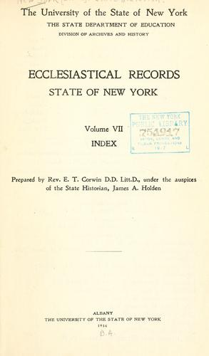 Ecclesiastical records, state of New York.