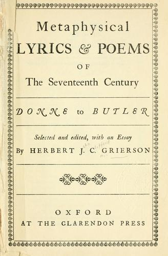Download Metaphysical lyrics and poems of the seventeenth century, Donne to Butler