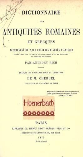 Dictionnaire des antiquit©Øes romaines et grecques