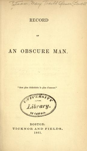 Record of an obscure man