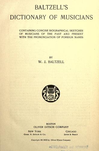 Download Baltzell's dictionary of musicians