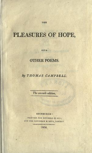 The pleasures of hope, with other poems.