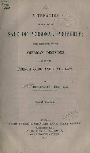 Download A treatise on the law of sale of personal property