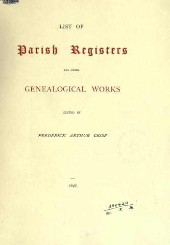 List of parish registers and other genealogical works.