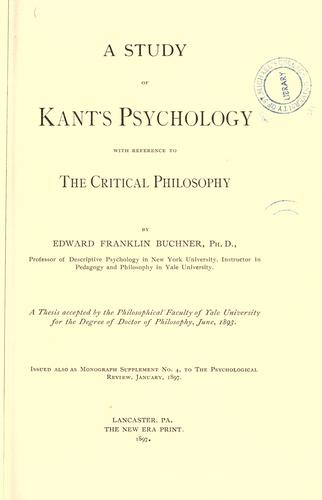 A study of Kant's psychology with reference to the critical philosophy