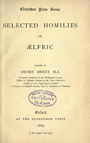 Download Selected homilies of Aelfric.