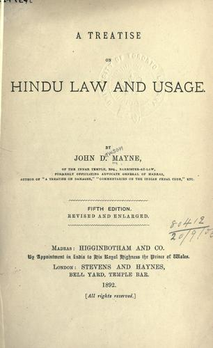 Download A treatise on Hindu law and usage.