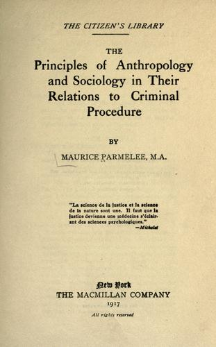Download The principles of anthropology and sociology in their relations to criminal procedure