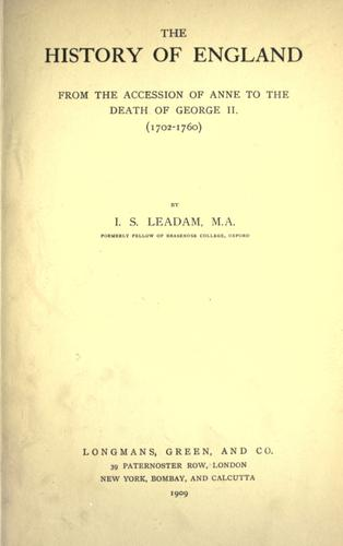 Download The history of England from the accession of Anne to the death of George II. (1702-1760)