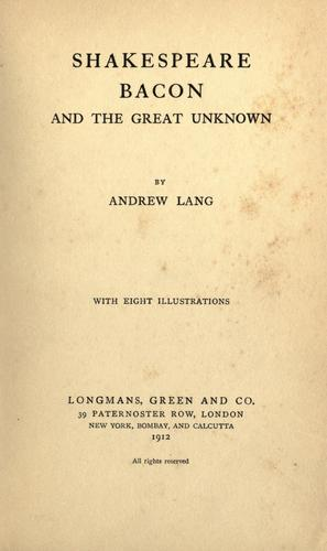 Download Shakespeare, Bacon, and the great unknown