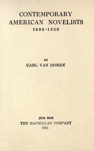 Download Contemporary American novelists, 1900-1920