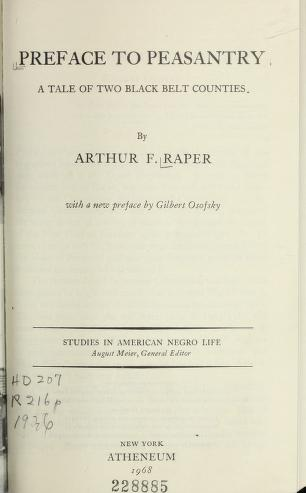 Cover of: Preface to peasantry | Arthur Franklin Raper