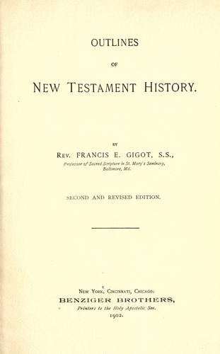 Outlines of New Testament history by