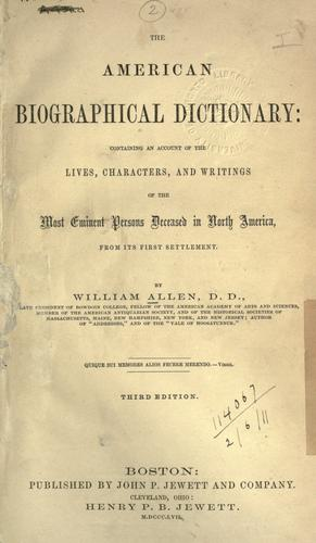 The American biographical dictionary