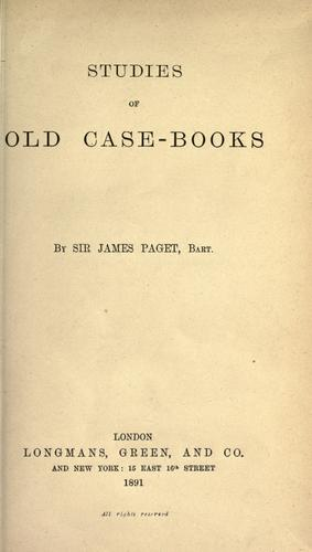 Studies of old case-books