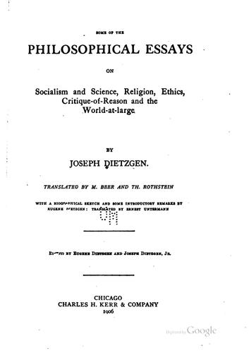 Some of the philosophical essays on socialism and science