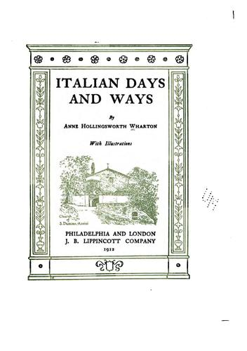 Italian days and ways by Anne Hollingsworth Wharton
