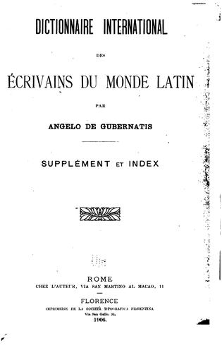 Dictionnaire international des écrivains du monde latin by Angelo De Gubernatis