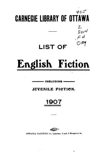 List of English fiction by Ottawa Public Library.