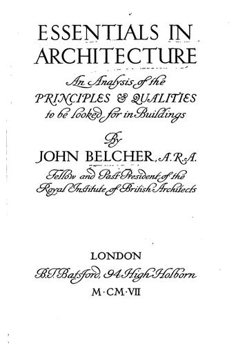 Essentials in architecture by Belcher, John