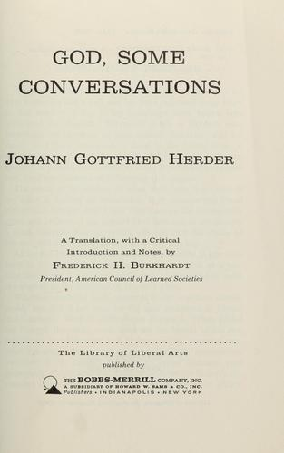 God, some conversations by Johann Gottfried Herder