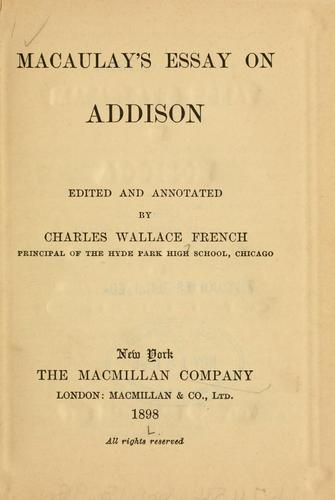 Macaulay's essay on Addison