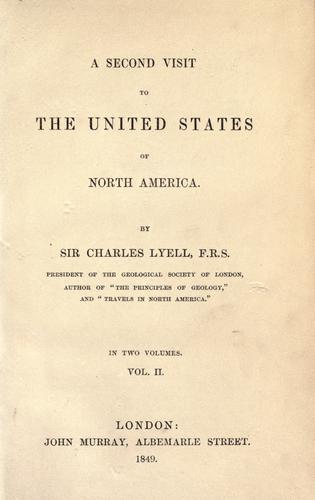 A second visit to the United States of North America by Charles Lyell