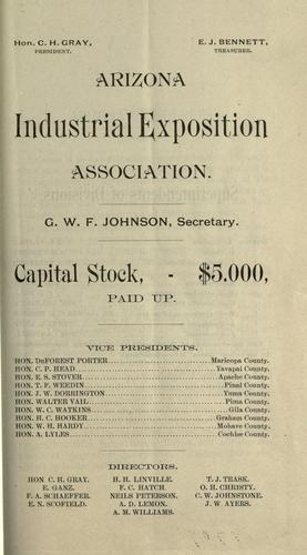 Premium list by Exhibit, Arizona Industrial Exposition Association (4th 1887 Phoenix)