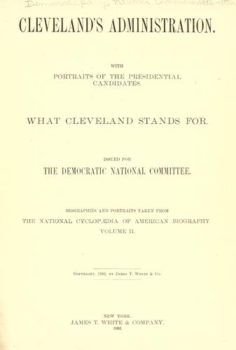 Cleveland's administration by Democratic National Committee (U.S.)