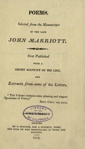 Poems by Marriott, John