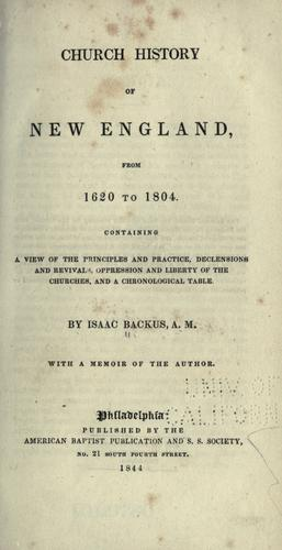 Church history of New England from 1620 to 1804