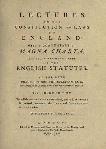 Lectures on the constitution and laws of England