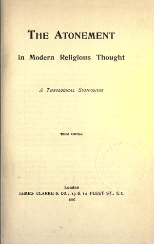The Atonement in modern religious thought by