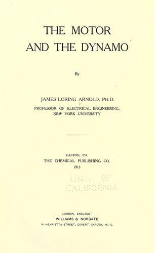 The motor and the dynamo by James Loring Arnold