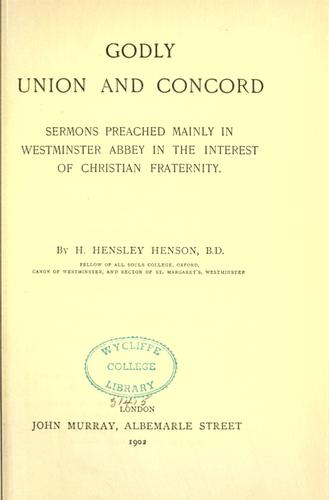 Godly union and concord by Hensley Henson