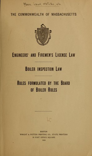 Engineers' and firemen's license law by Massachusetts