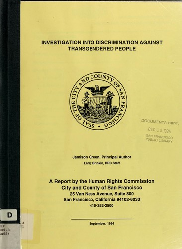 Investigation into discrimination against transgendered people by Human Rights Commission of San Francisco (San Francisco, Calif.)