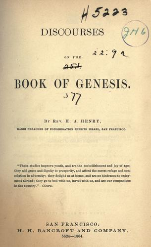 Discourses on the book of Genesis by Henry A. Henry