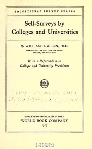 Self-surveys by colleges and universities by Allen, William H.