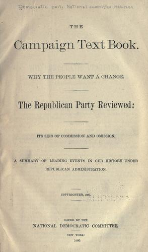 The campaign text book by Democratic National Committee (U.S.)