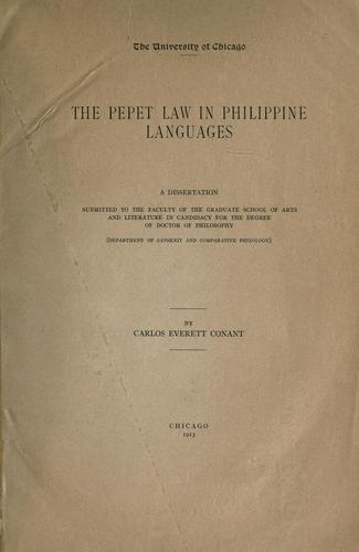 The Pepet law in Philippine languages by Carlos Everett Conant