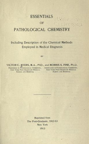 Essentials of pathological chemistry by Victor Caryl Myers