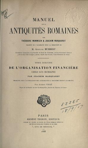 Manuel des antiquités romaines