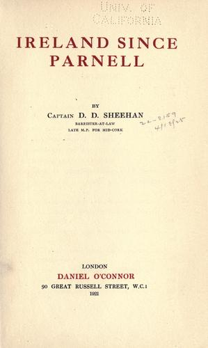 Ireland since Parnell by D. D. Sheehan