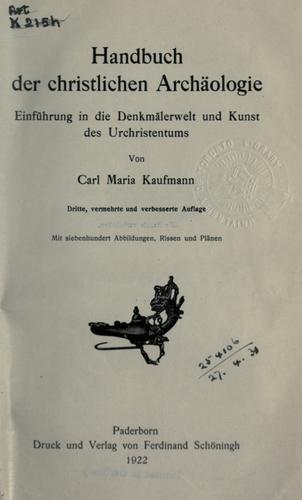Handbuch der christlichen archäologie