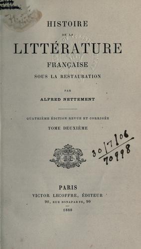 Histoire de la littérature française sous la restauration.
