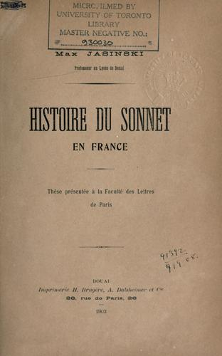 Histoire du sonnet en France.